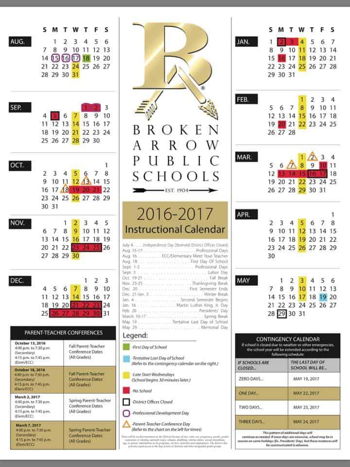 BAHS School Calendar
