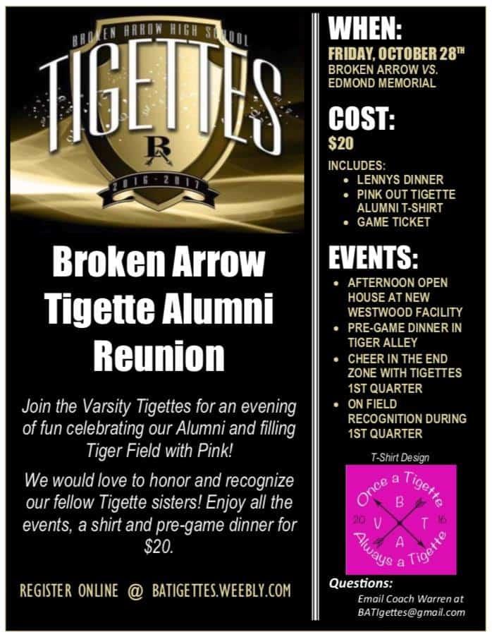 BA Tigette Alumni celebration Oct 28th!