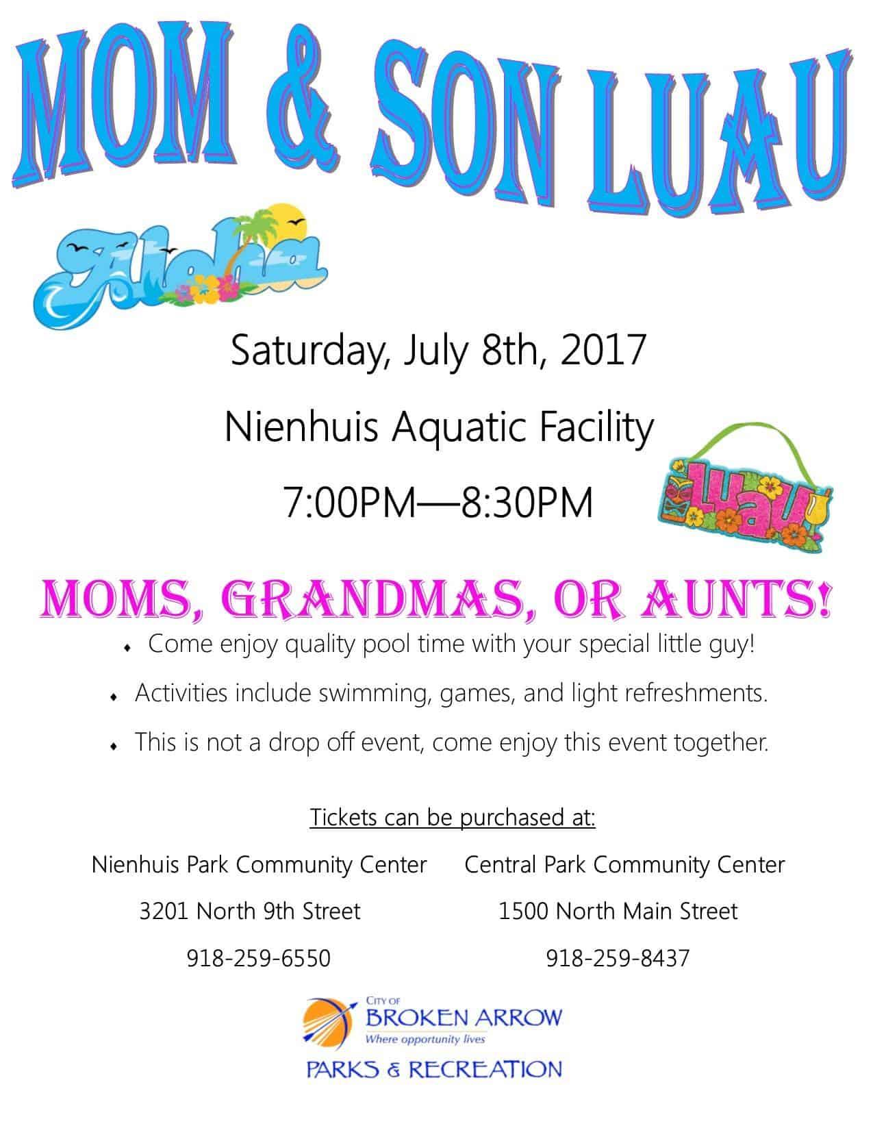 Mom & Son Luau July 8th!