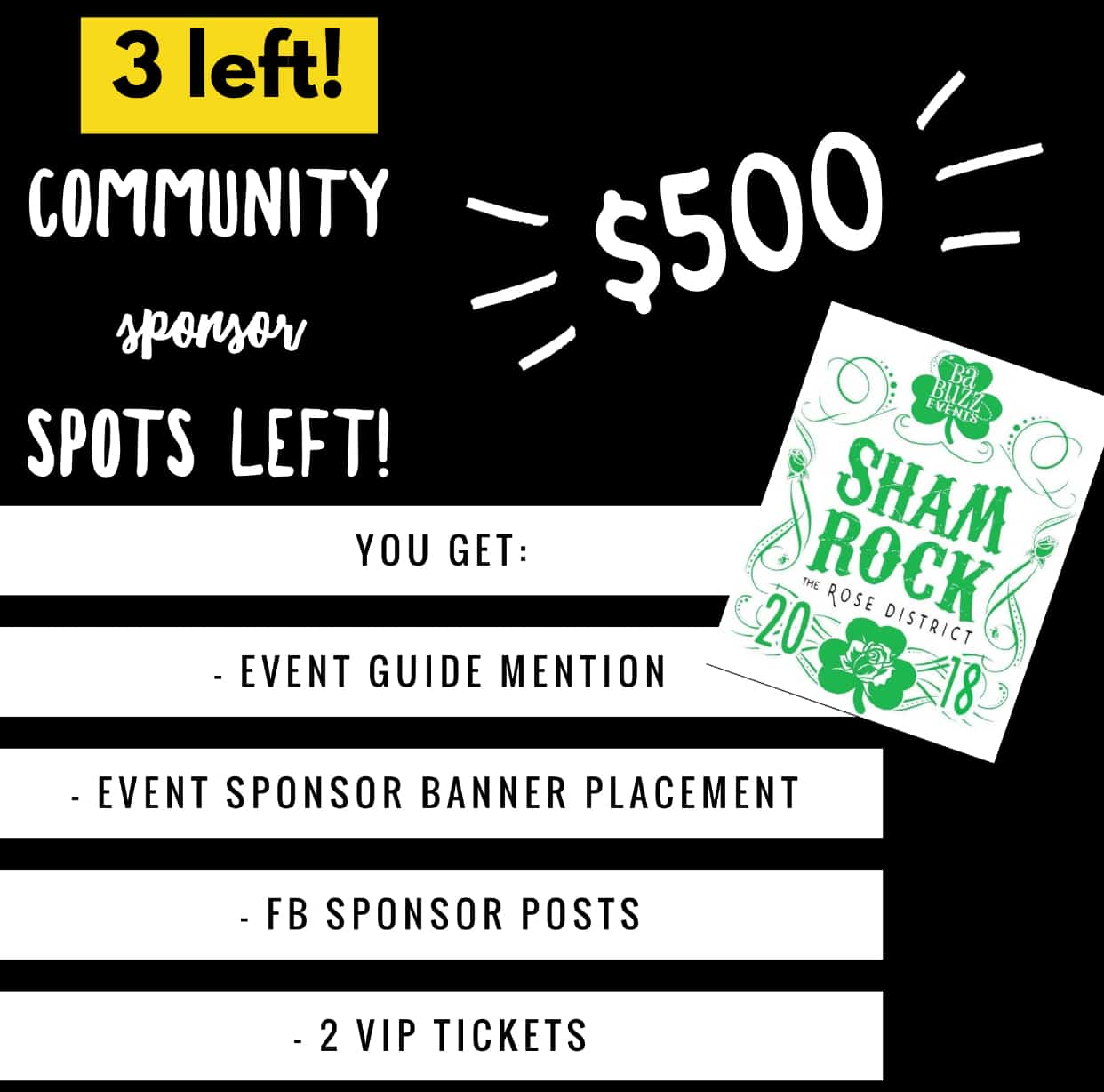 3 Community Sponsor Spots Left for ShamROCK!